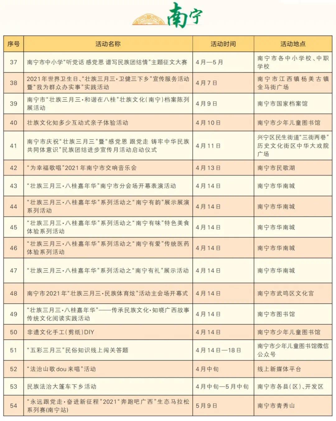 """""""壮族三月三""""广西各地活动安排表"""
